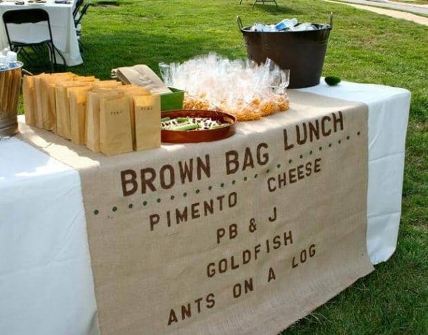 Boys Camping Birthday Party Brown Bag Lunch Station