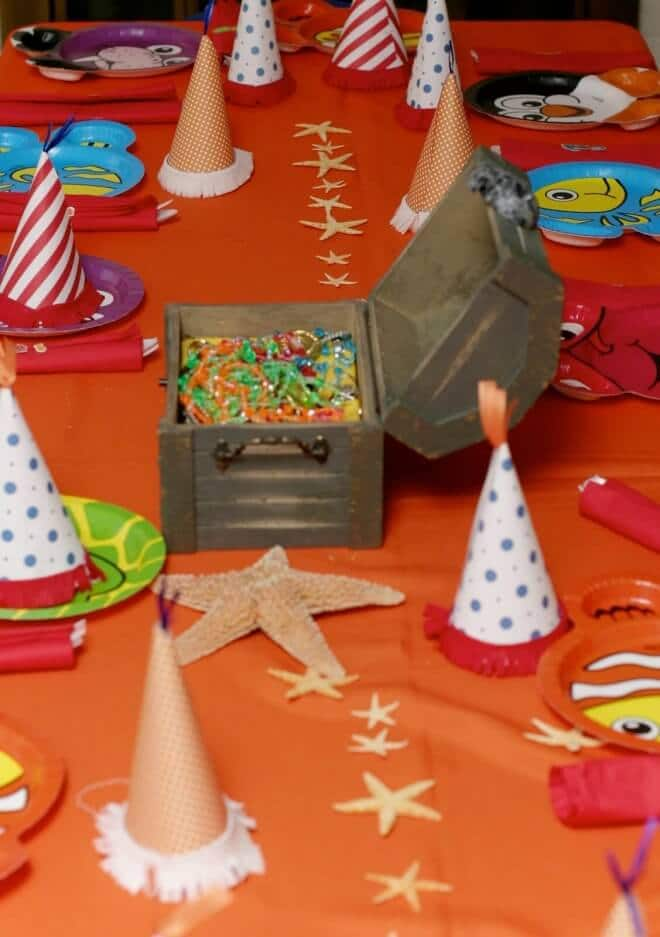 Boys Ocean themed party table decorations