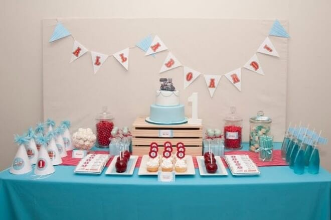 Boys Train Themed Birhday Party Dessert Table