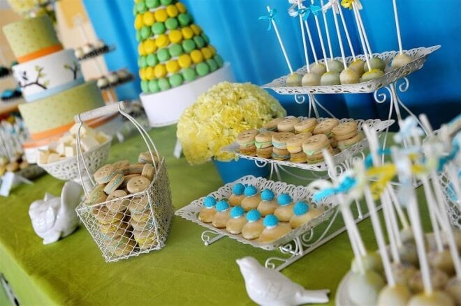 Boys Baptism Party Food table Decorations