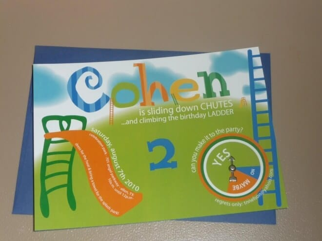 Boys Chutes and Ladders Themed Birthday party invitation