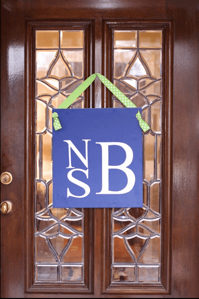 Monogrammed Door Sign for Sing a Long Birthday Party