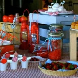 Food on a table, with Baby shower