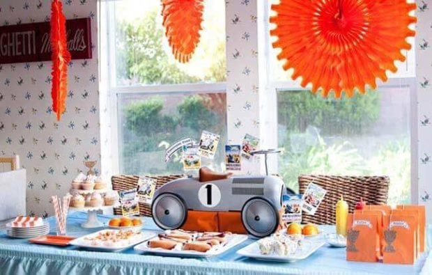Boys Vintage Racecar themed party food table ideas