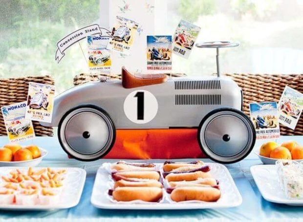 Boys Vintage Racecar themed birthday party centerpiece ideas