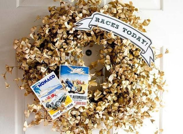 Boys Vintage Racing Themed Party Welcome Wreath