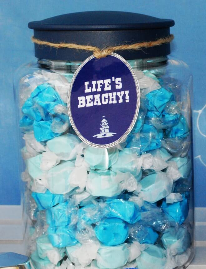 Boys Beach Party Themed Birthday Party Candy Food Ideas