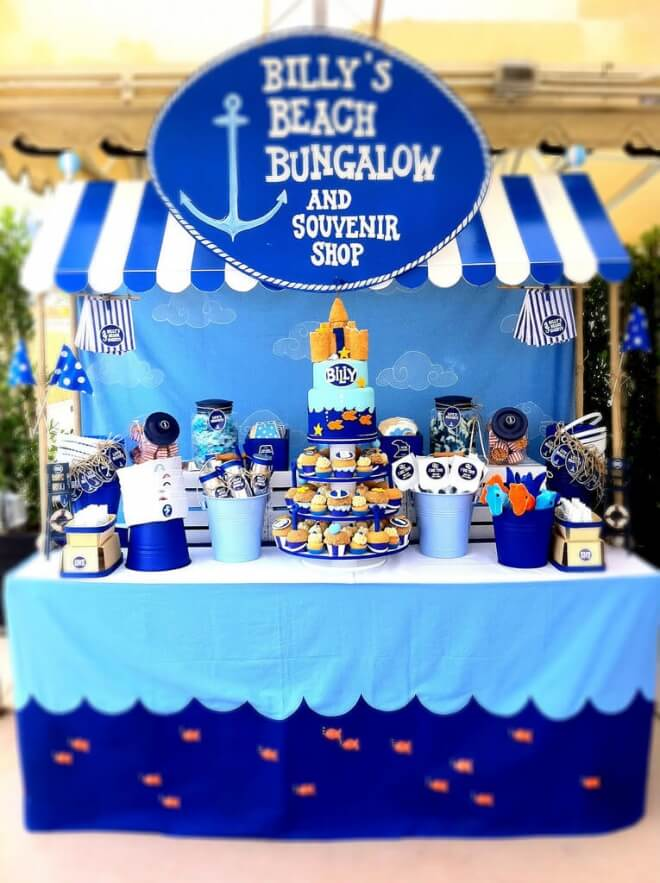 Boys Beach Themed Birthday Party Dessert Table