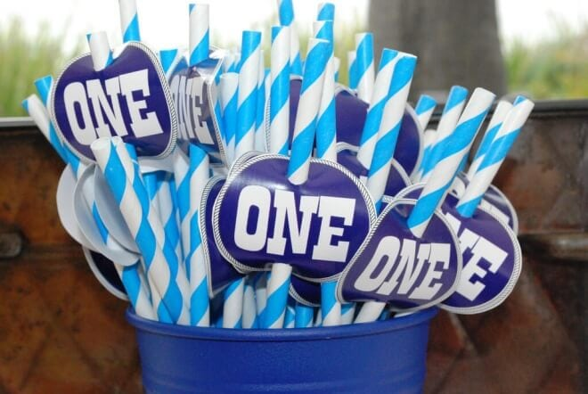 Boys Beach Themed Birthday Party Drink Straws