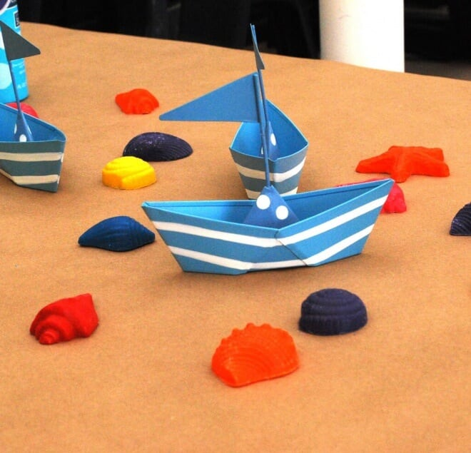 Boys Beach Themed Birthday Party Paper Boat Centerpieces