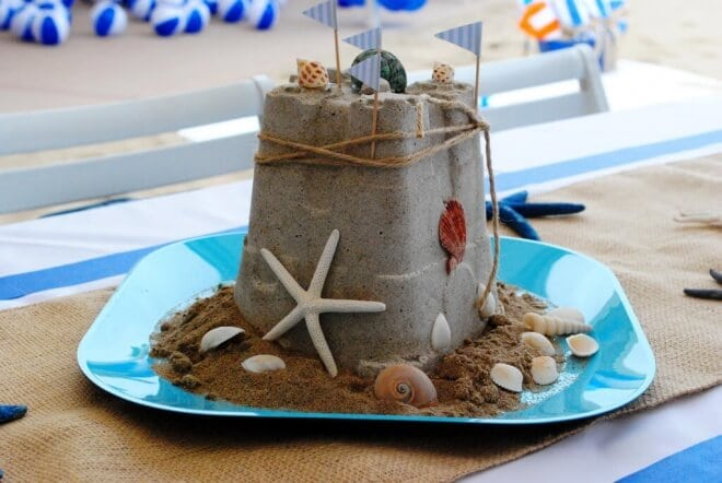 Boys Beach Themed Birthday Party Sandcastle Centerpiece