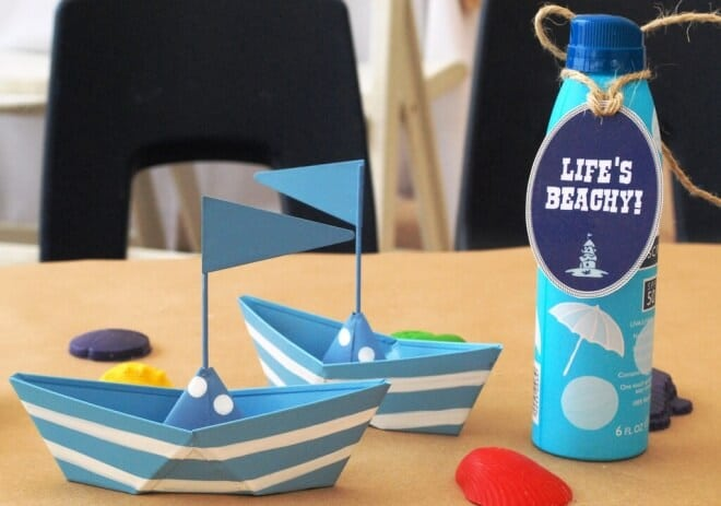 Boys Beach Themed Birthday Party Table Decorations