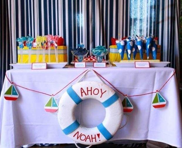 Boys Nautical Birthday Party Dessert Table