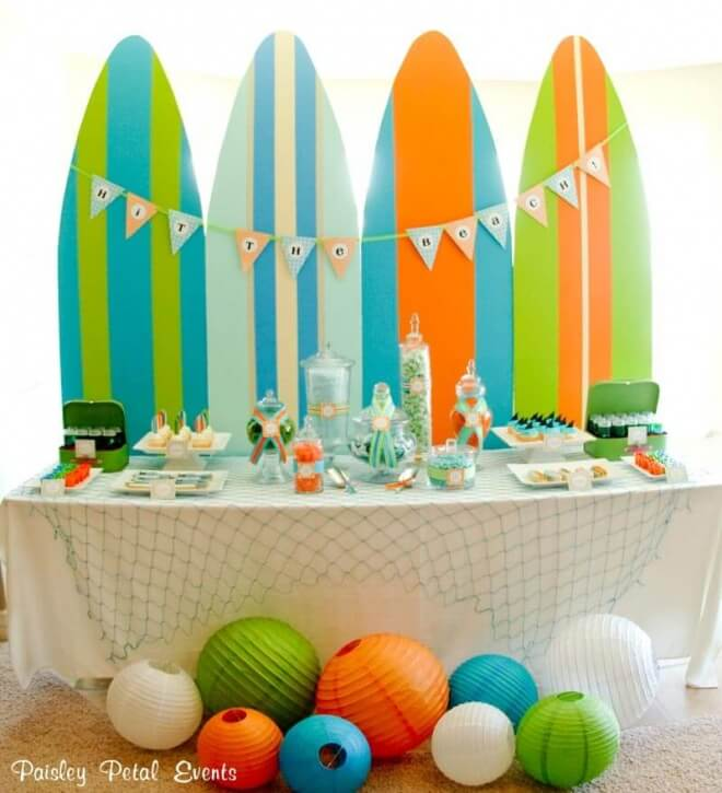 Boys Summer Beach Party Surf Board Dessert Party