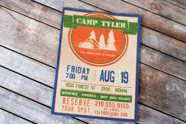 Boys Outdoor Camping Birthday Party Invitation