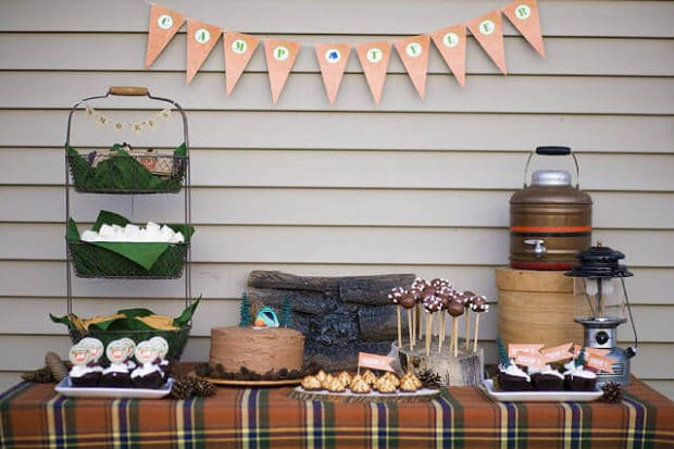 Boys Outdoor Camping Birthday Party Table