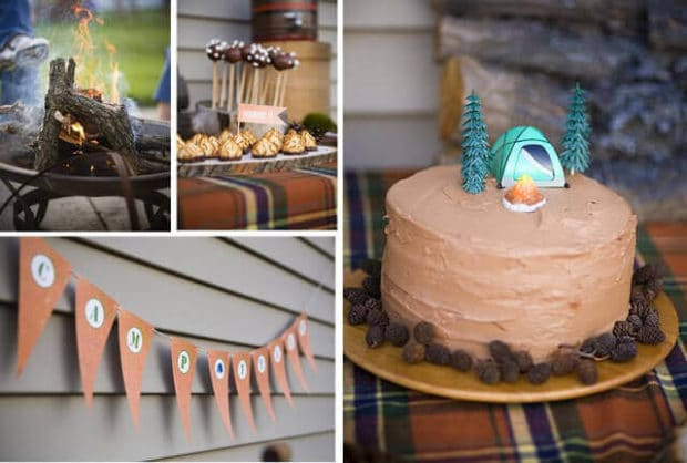 Boys Outdoor camping Birthday Party Cake Ideas