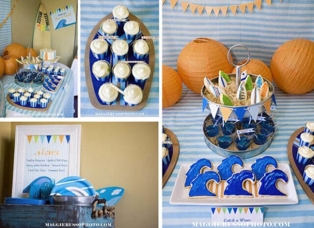 Boys Surfing Birthday Party Cupcake Ideas