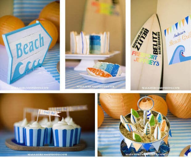 Boys Surfing Themed Birthday party Cupcakes