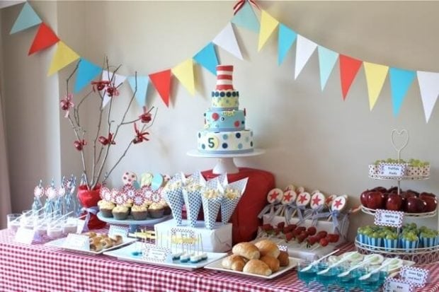 Boys Dr Seuss Birthday Party Dessert Table