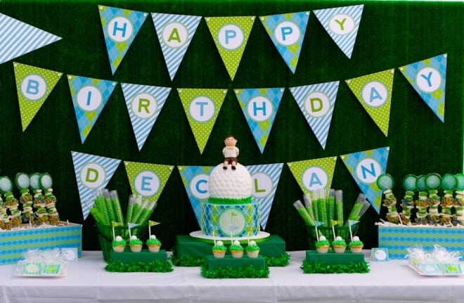 Boys Golf Birthday Party Dessert Table