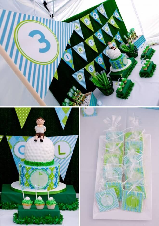 Boys Golf Themed Birthday Party Dessert Tables
