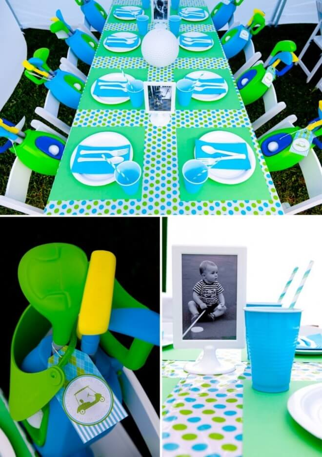 Boys Golf Themed Birthday Party Table Setting Ideas