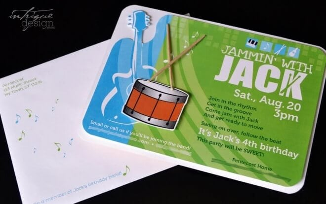 Boys Music Themed Birthday Jam Session Invitation