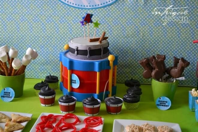 Boys Music Themed Birthday Party Cake Idea