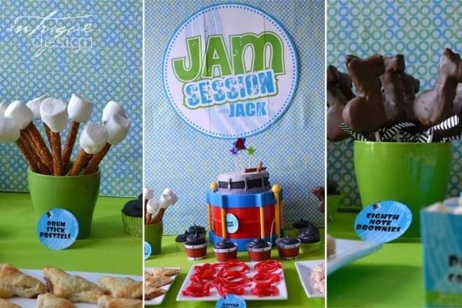 Boys Music Themed Birthday Party Dessert Ideas