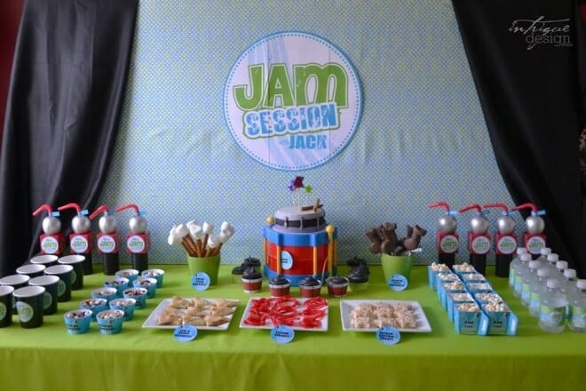 Boys Music Themed Birthday Party Jam Dessert Table Ideas