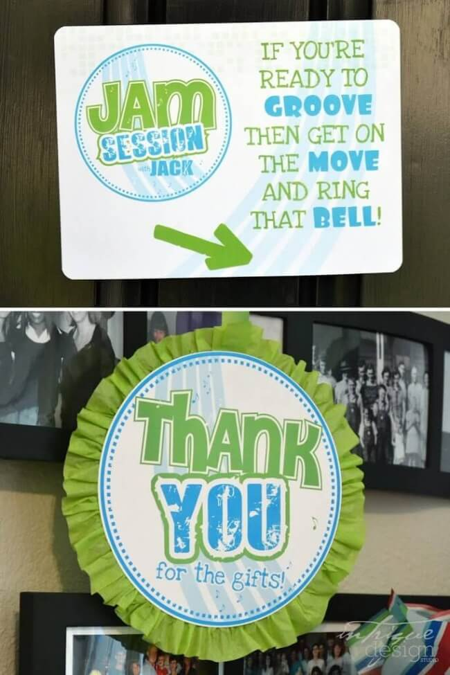 Boys Music Themed Birthday Party Jam Session Welcome Sign