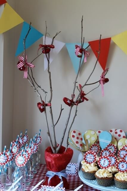 Boys dr seuss birthday party favor tree ideas