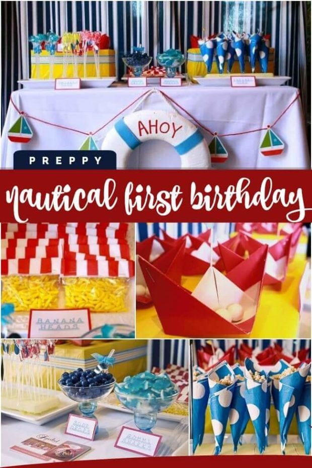 A Boy's Preppy Nautical Themed First Birthday Party