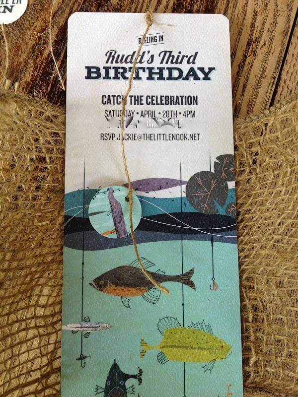 Boys Vintage Fishing Birthday Party Invitations