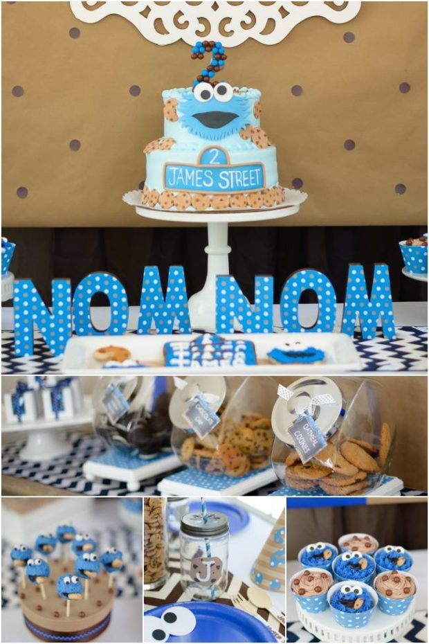 collage of cookie monster party ideas