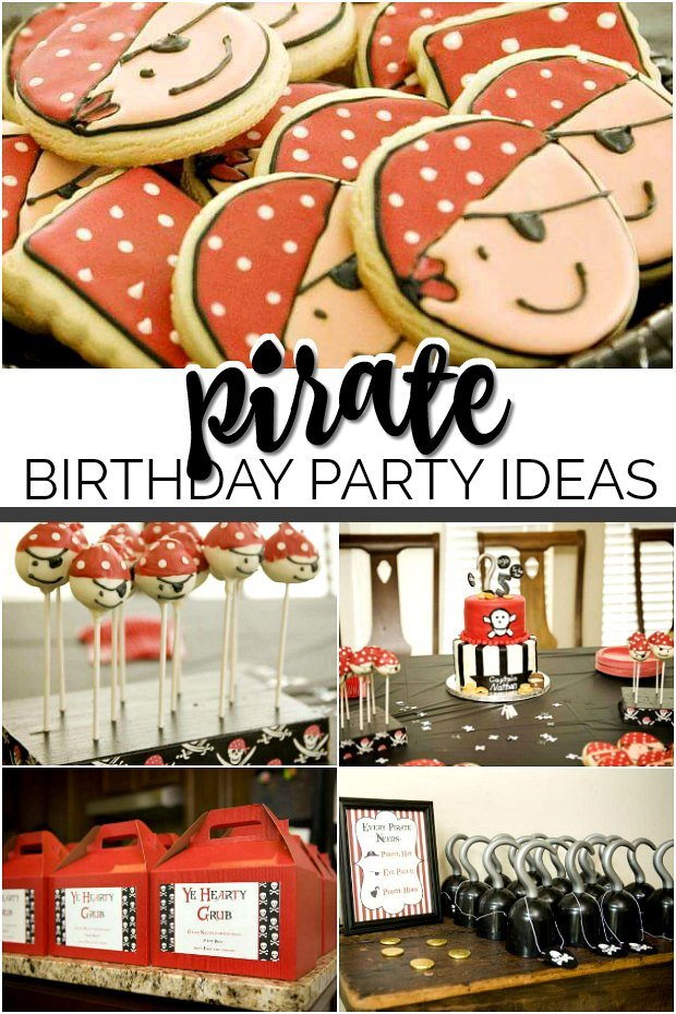 collage of pirate birthday party ideas inc;uding cookies, cake and favor boxes