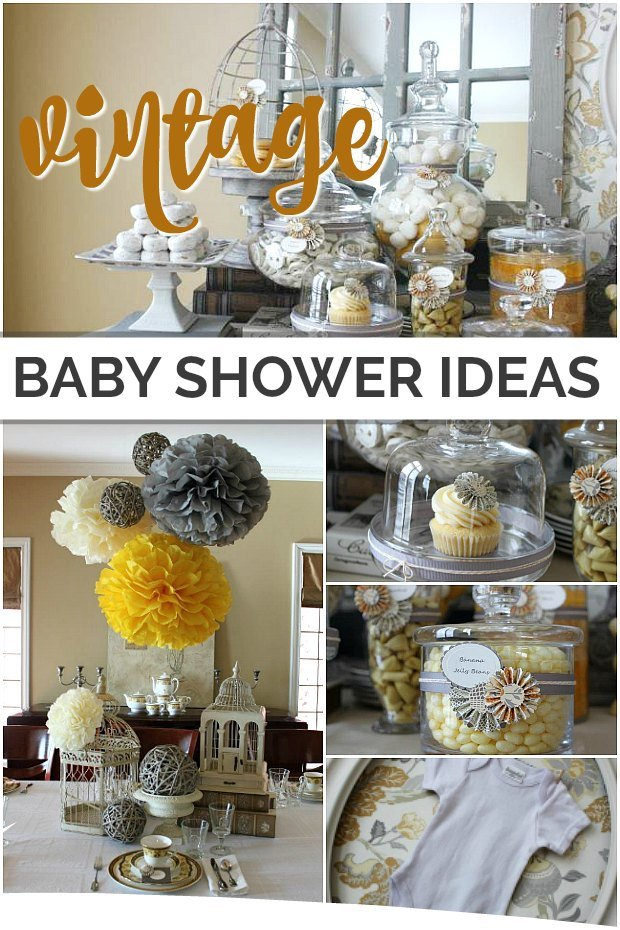Collage of images from a vintage style baby shower