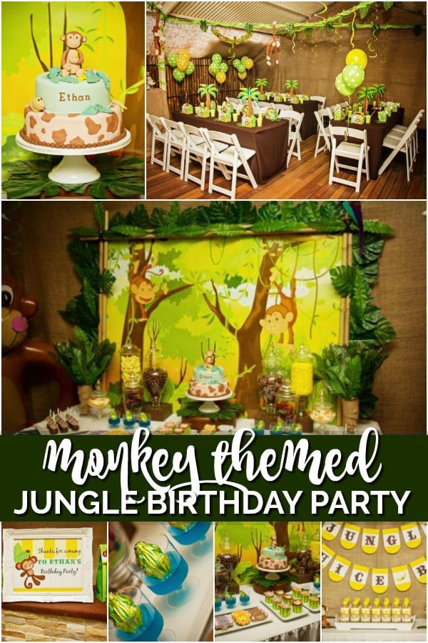 monkey themed jungle birthday party