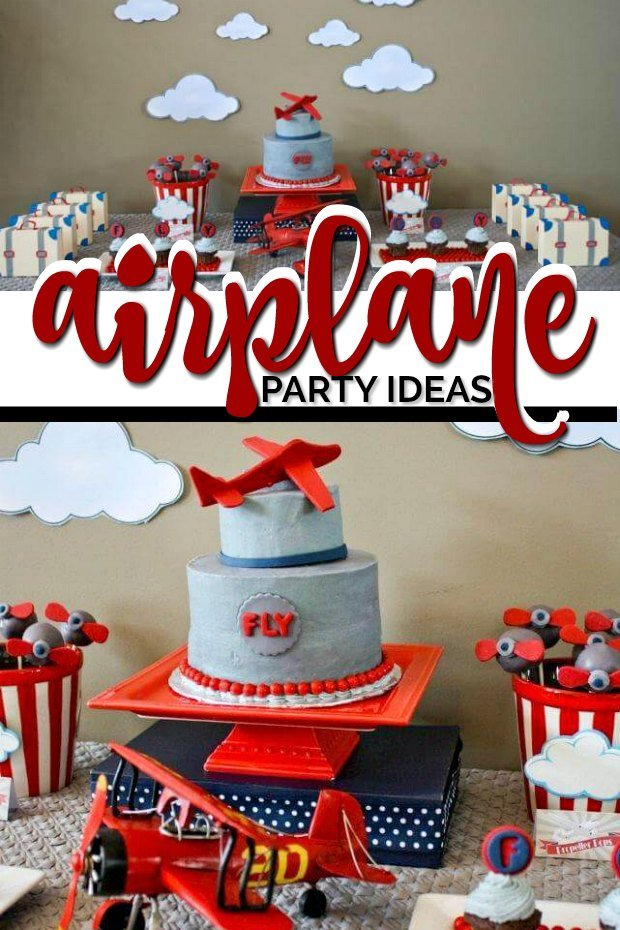 Amazing Plane Themed Boys First Birthday Party Spaceships And Laser Beams Funny Birthday Cards Online Barepcheapnameinfo
