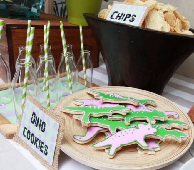 Boys Dinosaur Themed Birthday Party Cookie Ideas