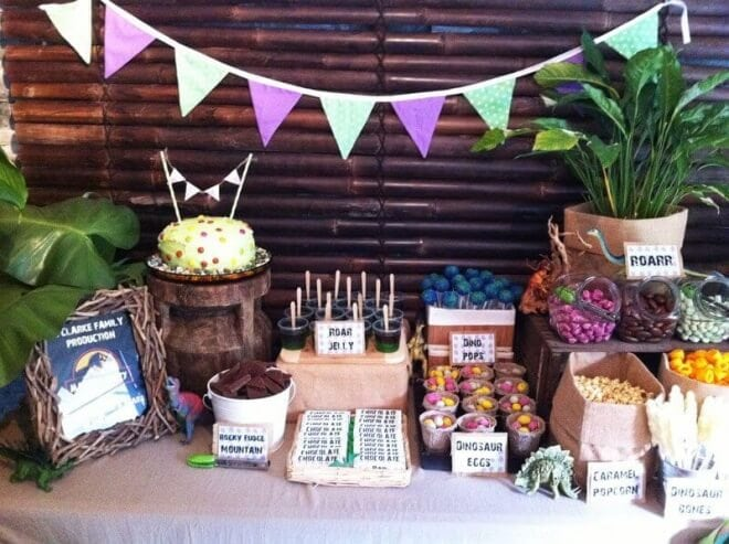 Boys Dinosaur Themed Birthday Party Dessert Table Ideas