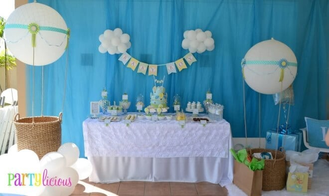 Boy 39 s hot air balloon party theme spaceships and laser beams for Baby shower decoration ideas blog