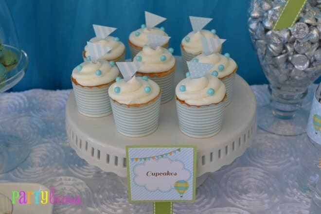 Hot Air Balloon Themed Baby Shower Party Cupcake ideas