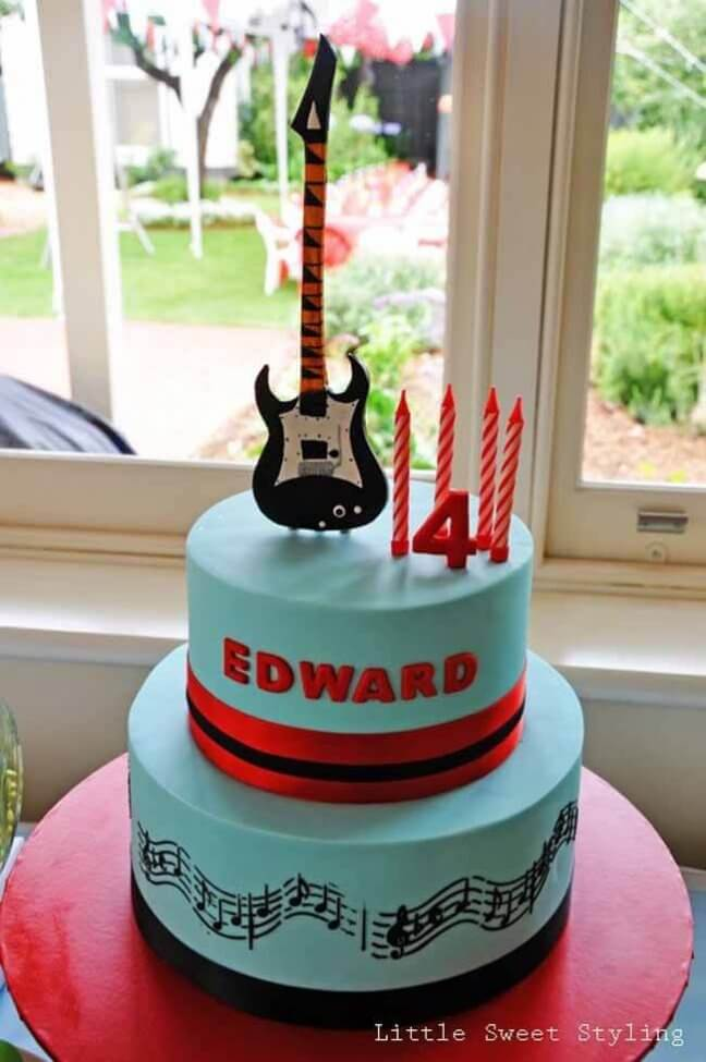 Guitar Rock Star Birthday Party Cake Ideas