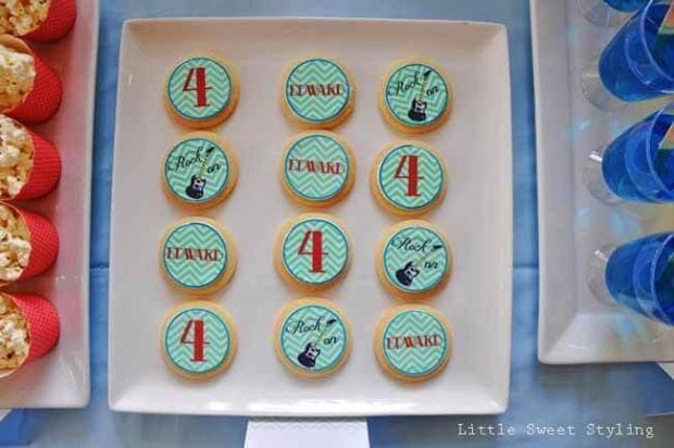 Guitar Rock Star Birthday Party Cookies