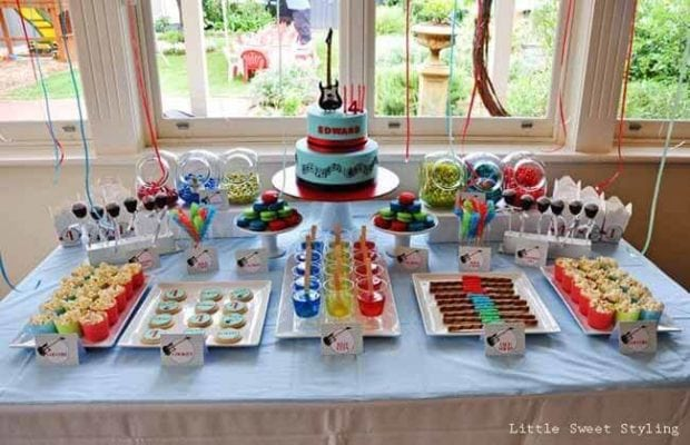 Guitar Rock Star Birthday Party Dessert Table