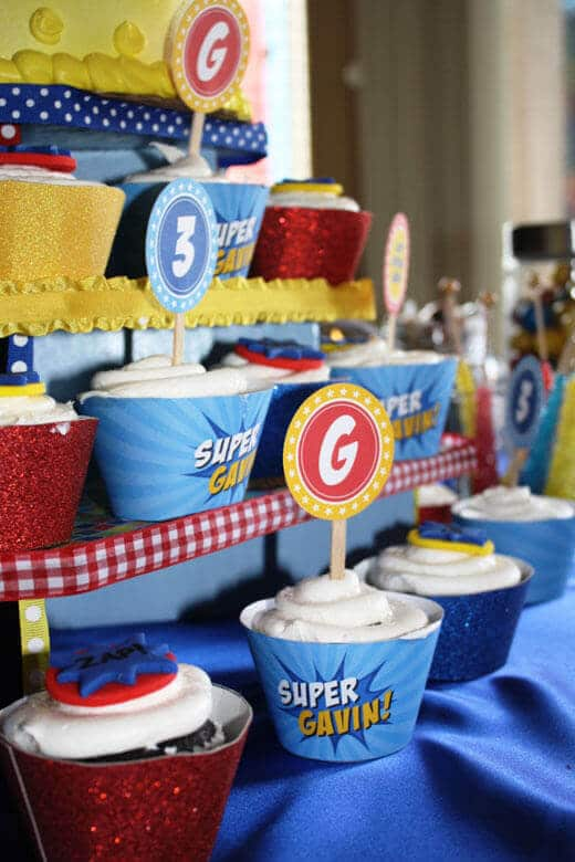 Superhero Birthday Party Cupcake Tower