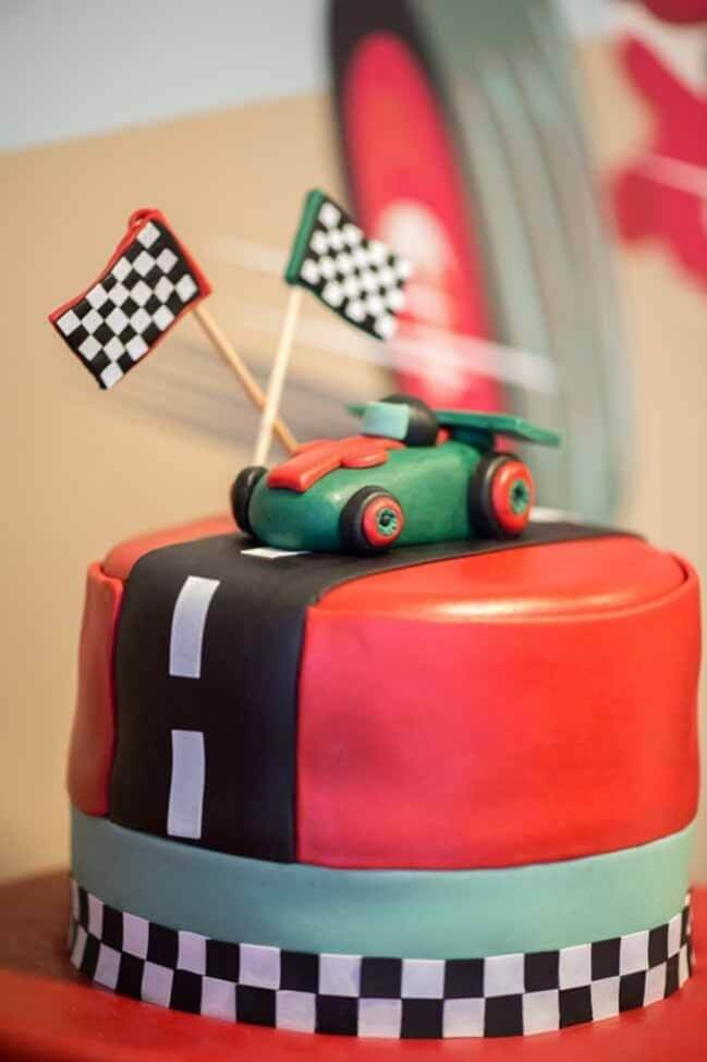 Vintage Race Car Boy Birthday Party Ideas Cake Topper