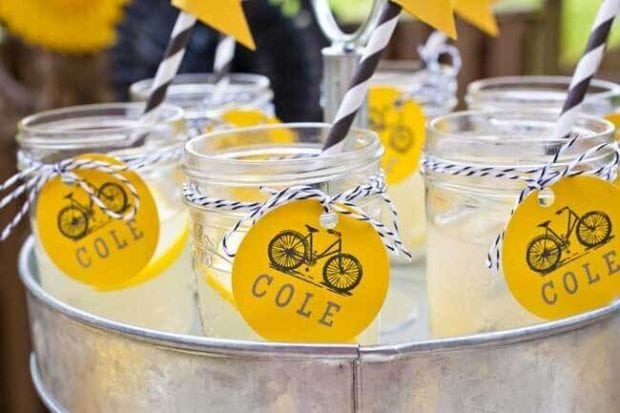 Boys Bicycle Themed Birthday Party Drinks